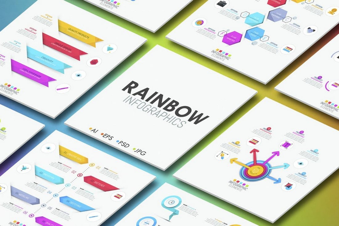 Rainbow-Infographics 40+ Best Infographic Templates (Word, PowerPoint & Illustrator) design tips