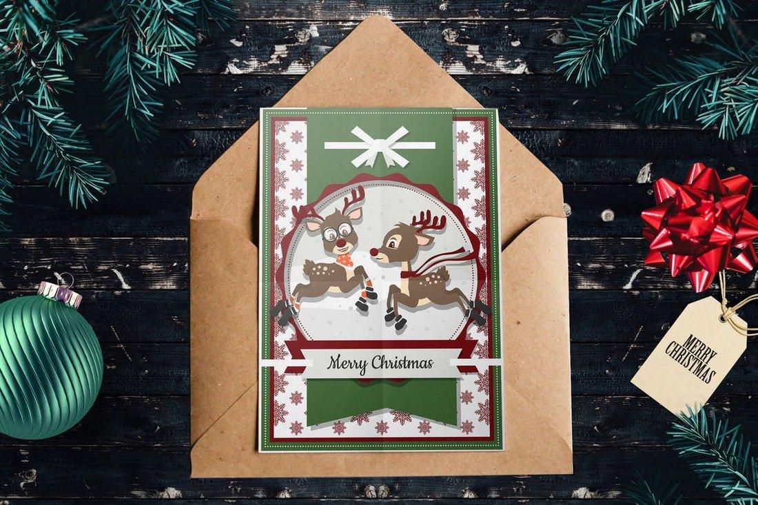 Raindeer Christmas Card Template