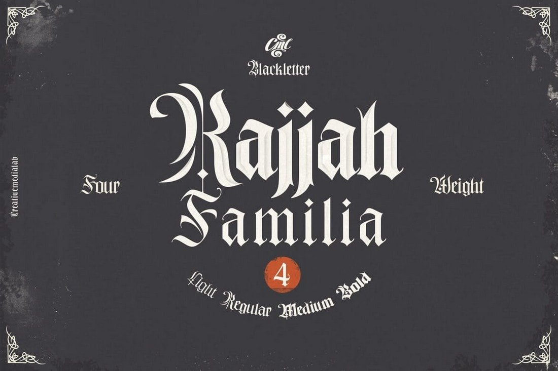 Rajjah-Familia-Blackletter-Font-Family 30+ Best Tattoo Fonts & Lettering design tips  Inspiration|tattoo