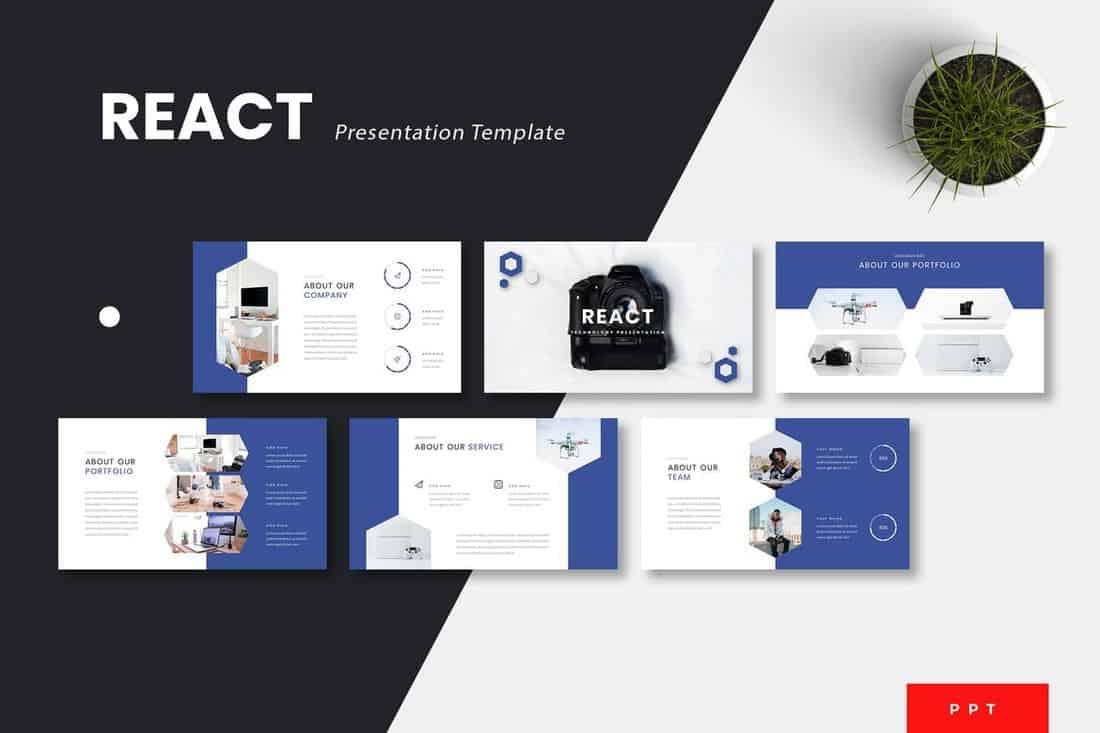 React-Technology-Powerpoint-Template 30+ Best Science & Technology PowerPoint Templates design tips  Inspiration|powerpoint|science|technology