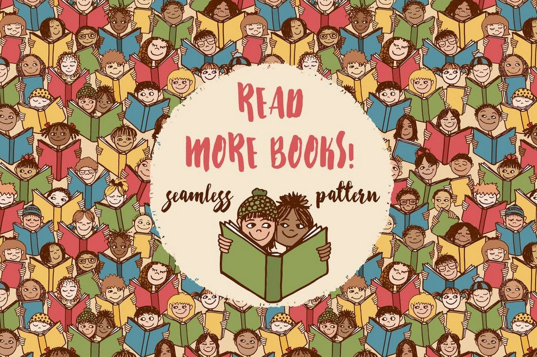 Read More Books - Seamless Pattern