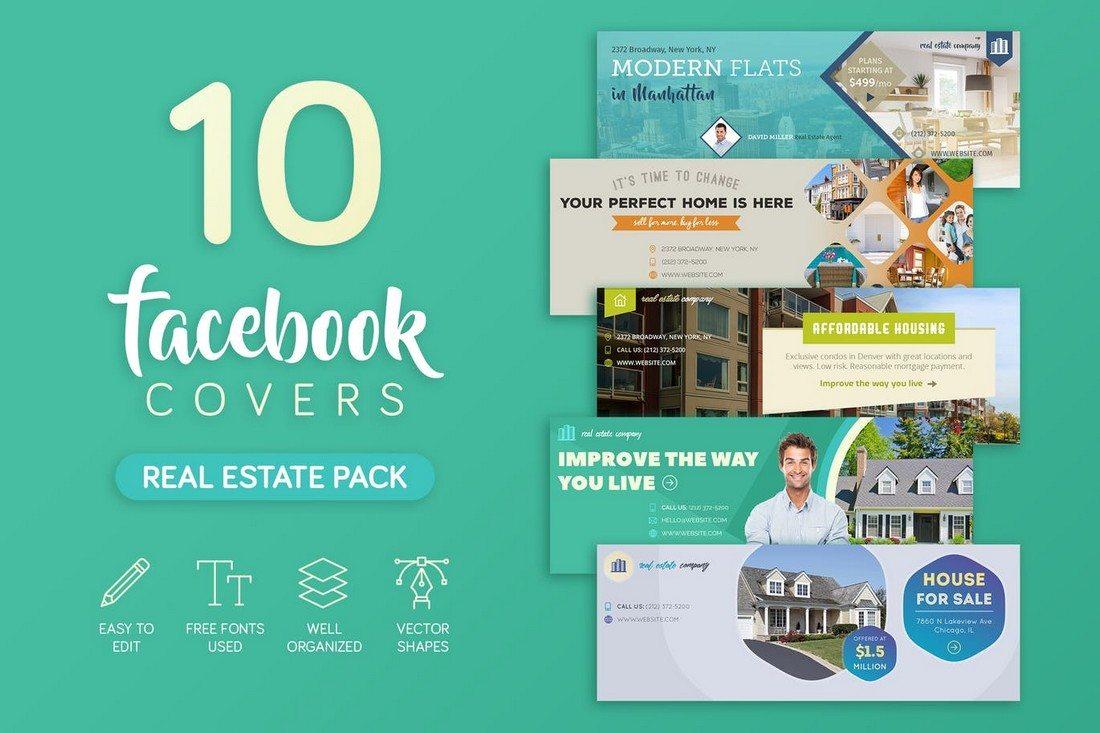 Real-Estate-Facebook-Cover 20+ Best Facebook Cover & Post Mockups design tips
