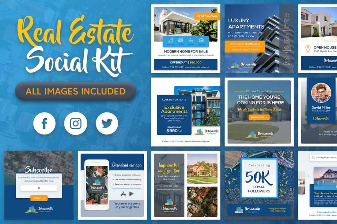 Real-Estate-Social-Media-Kit 40+ Best Social Media Kit Templates & Graphics design tips  Inspiration|facebook|social media|twitter