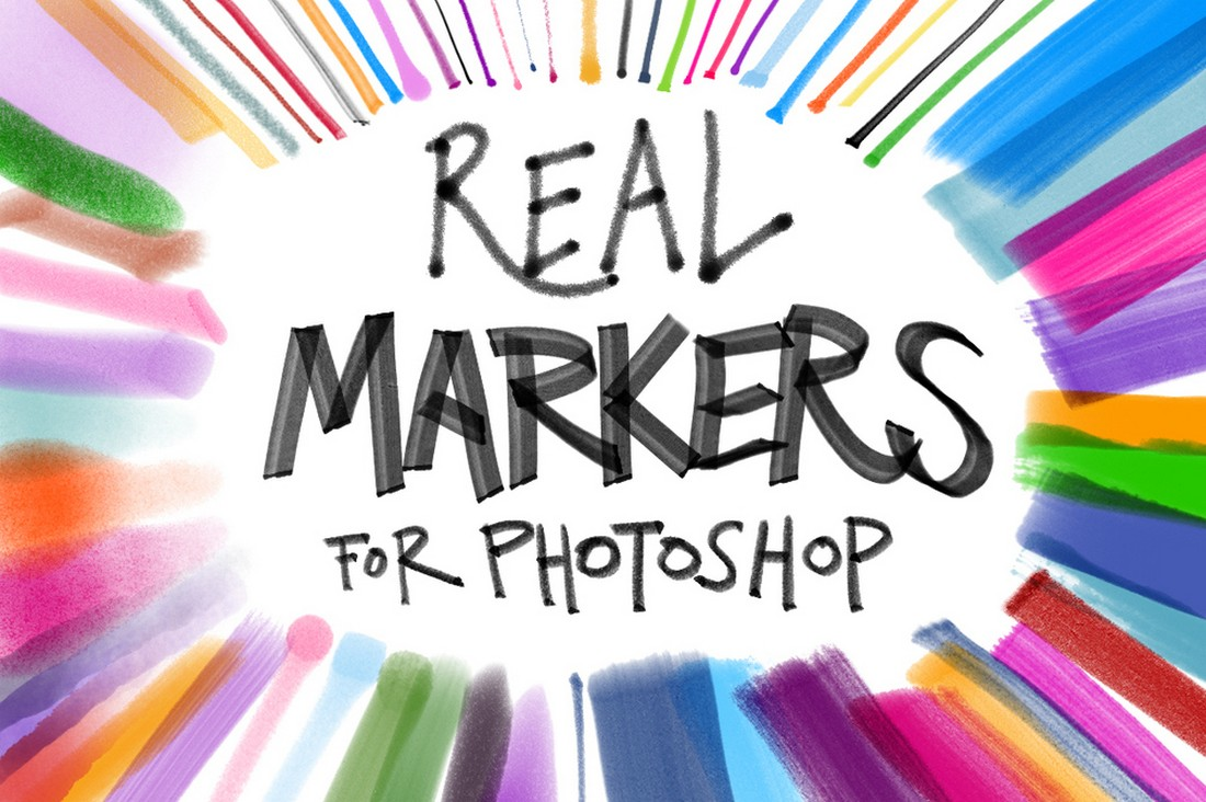 Real Markers for Photoshop Free Brushes