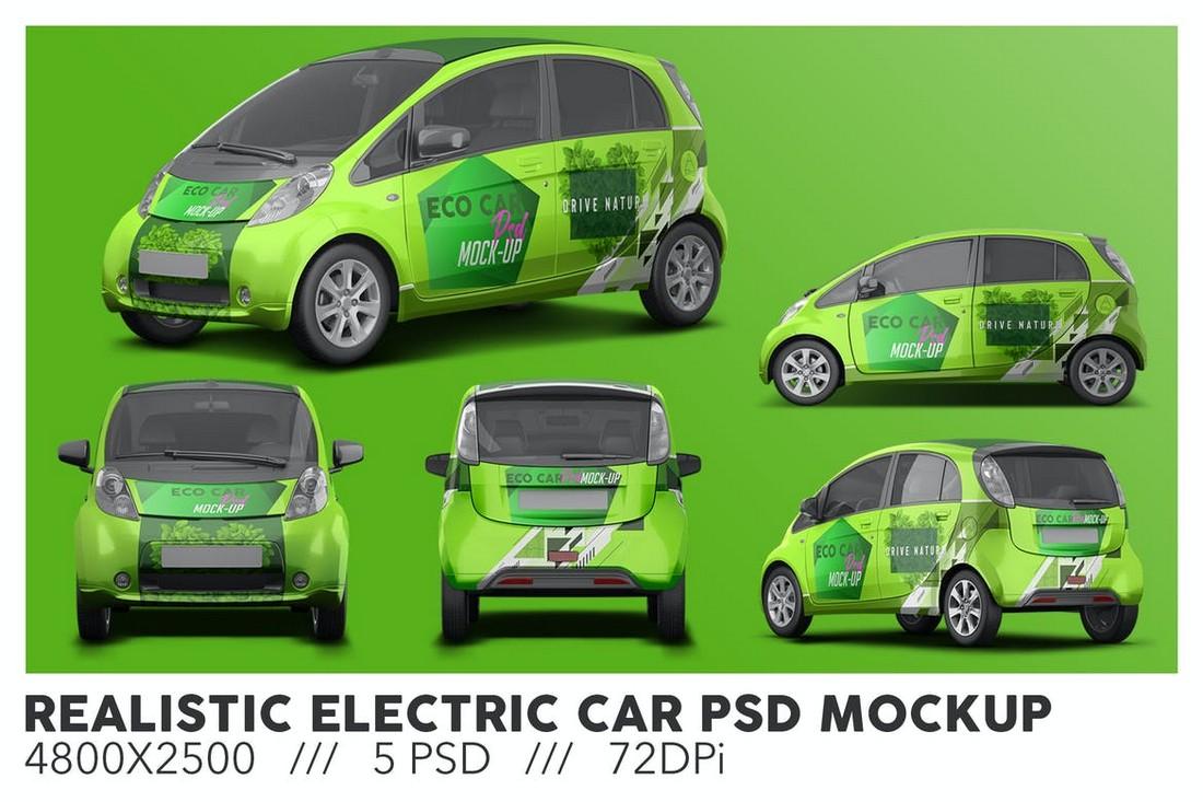 Realistic Electric Car PSD Mockup