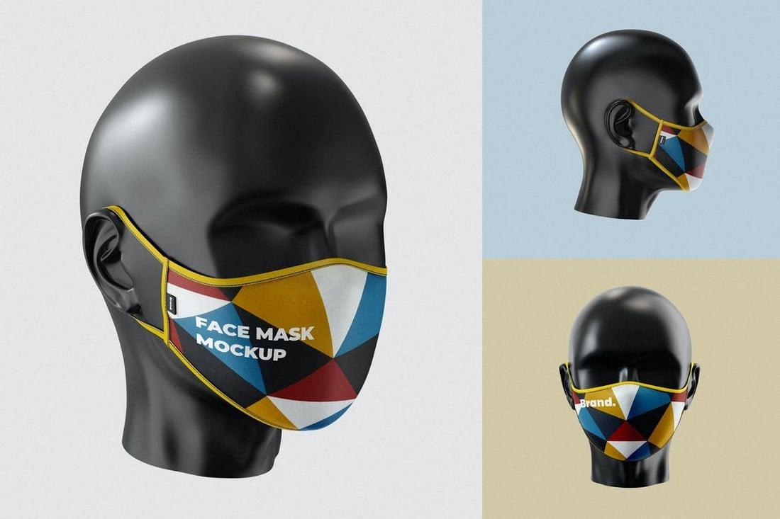 Realistic Face Mask Mockup Template