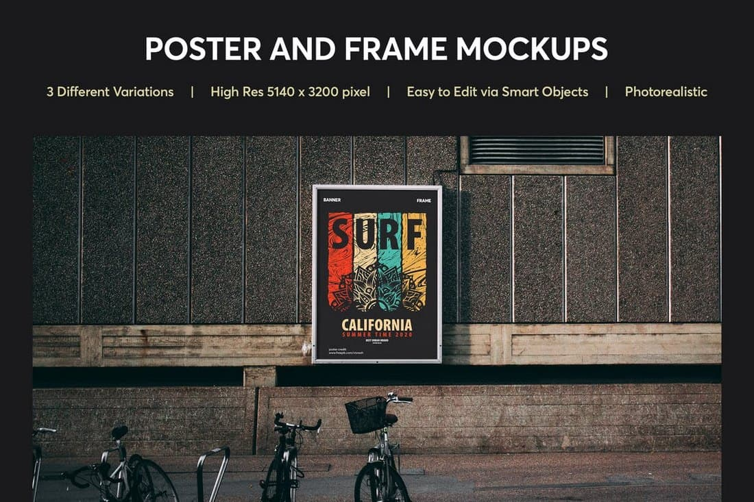 Realistic Poster and Frame Mockup