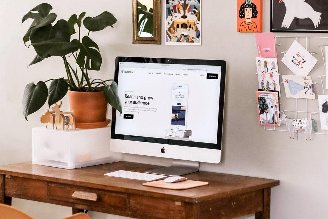 Realistic iMac Desktop Mockup