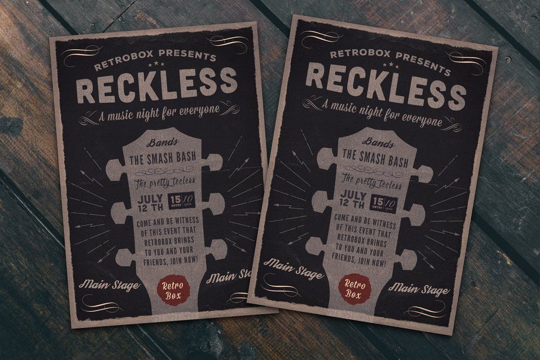 Reckless-Party-Night-Flyer-Poster 27 Inspiring Letterpress Style Posters design tips