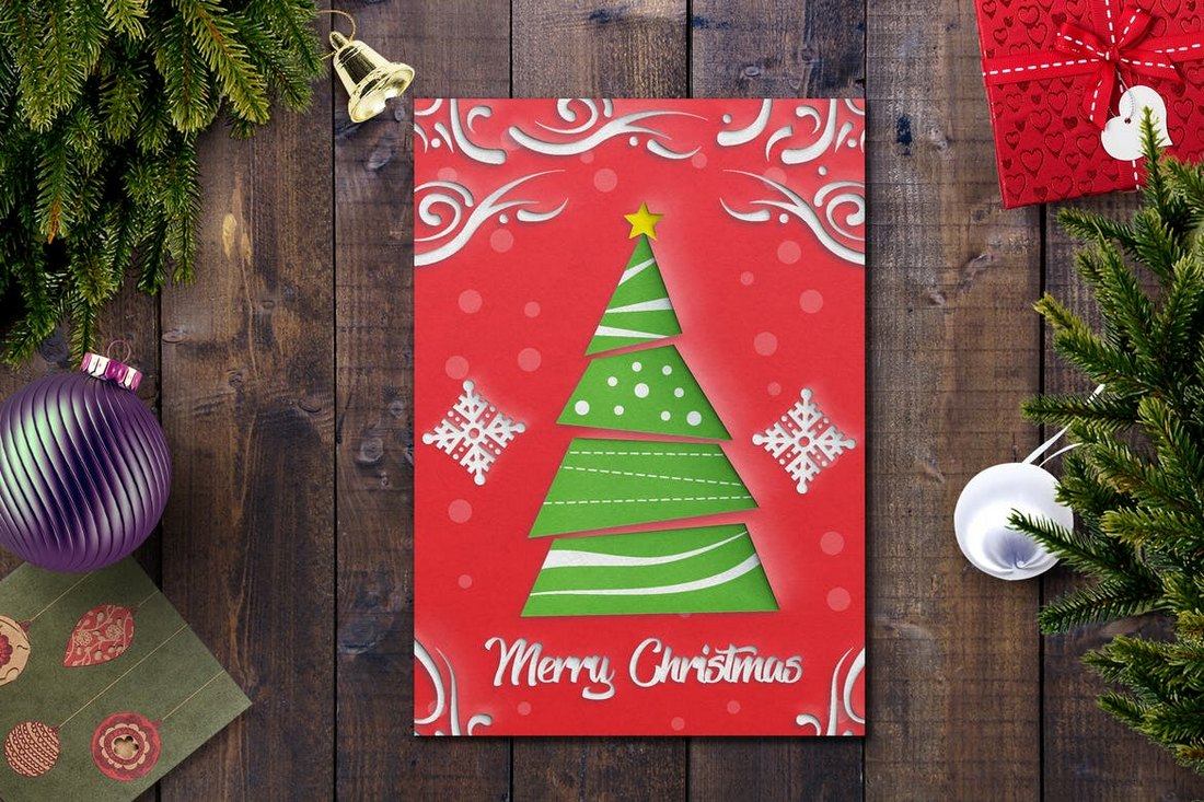 Red-Christmas-Card-Template 20+ Best Christmas Card Templates for Photoshop design tips
