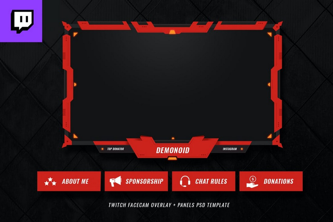 Red Twitch Facecam Overlay Template