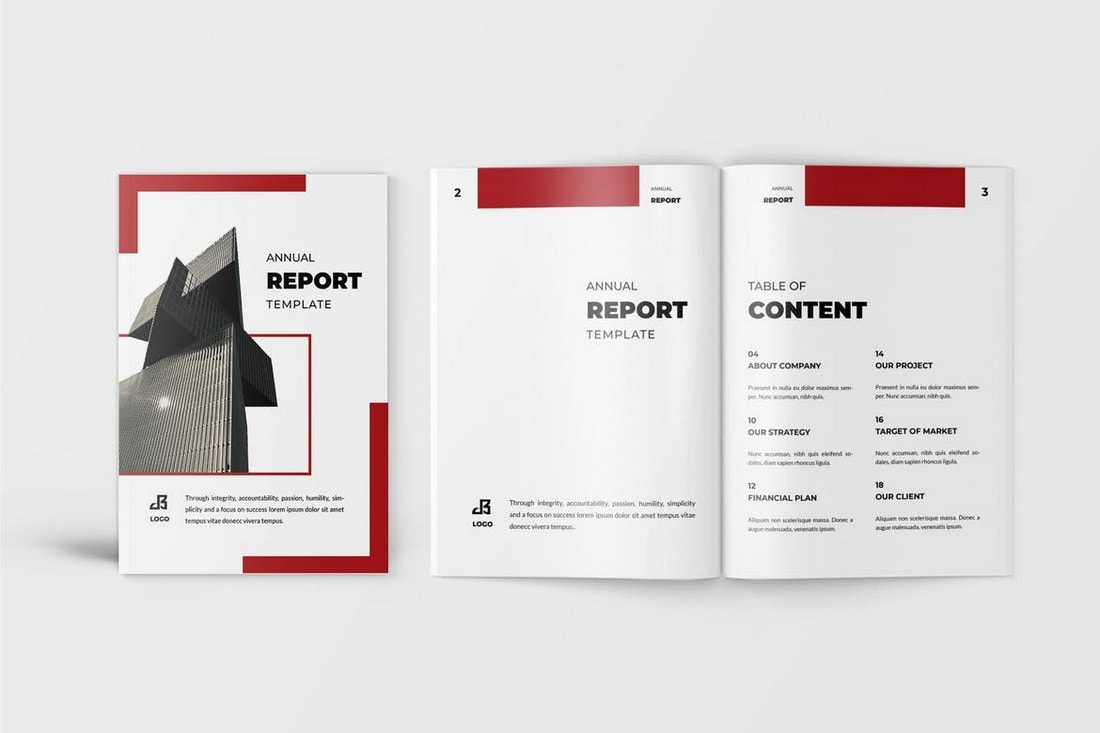 Red-Word-InDesign-Annual-Report-Template 50+ Annual Report Templates (Word & InDesign) 2021 design tips