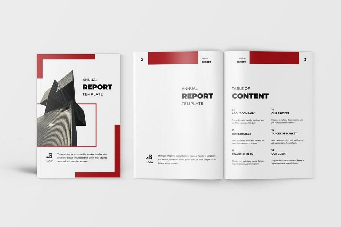 Red-Word-InDesign-Annual-Report-Template 30+ Annual Report Templates (Word & InDesign) 2020 design tips  Inspiration|annual|report|template