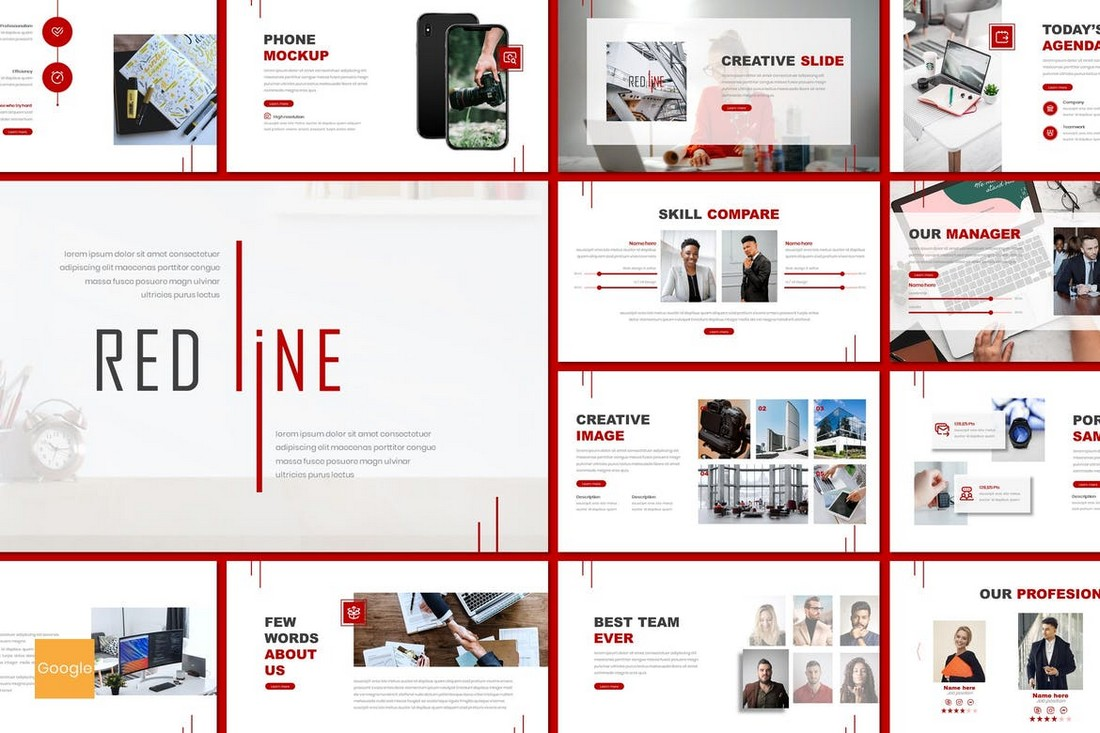 Redline - Clean Google Slides Template