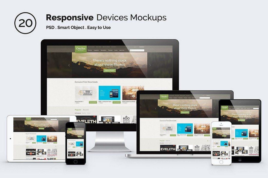 Responsive-Apple-Screen-Mockup-Devices 40+ iMac Mockup PSDs, Photos & Vectors design tips