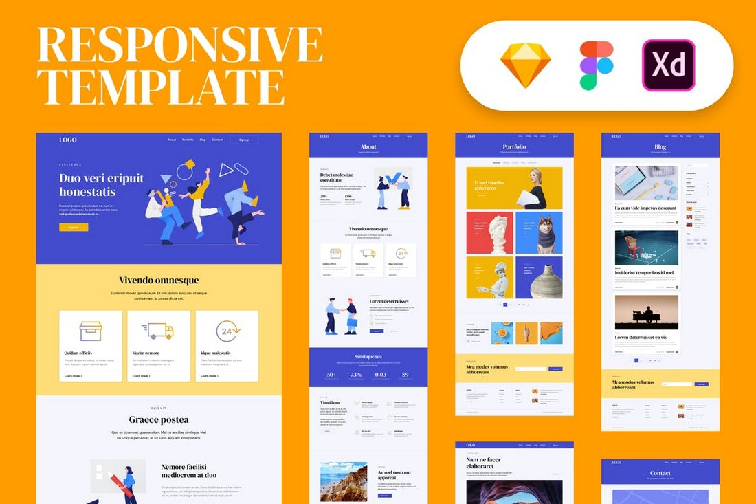 Responsive Website Template for Sketch