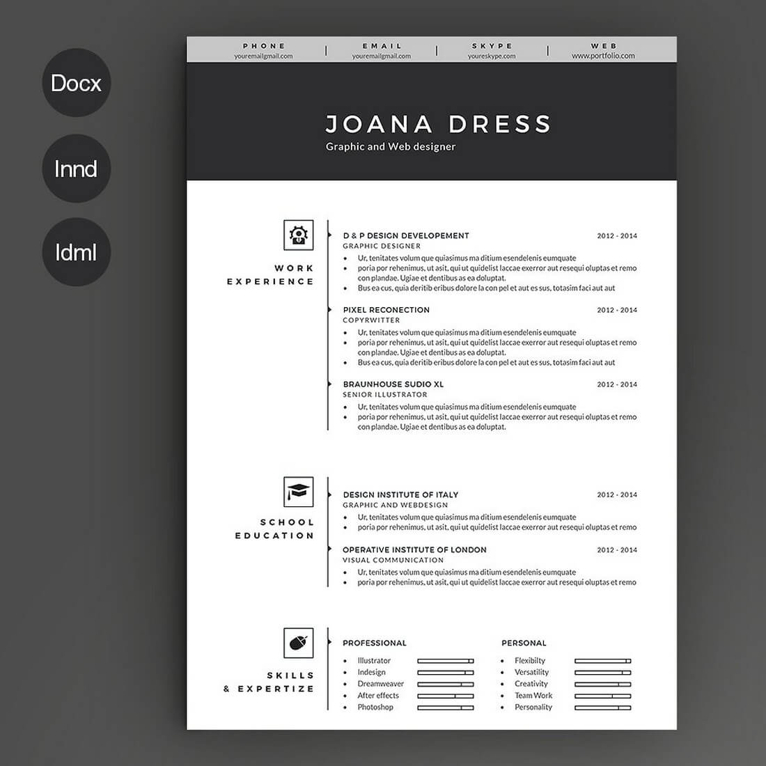 black white resume template