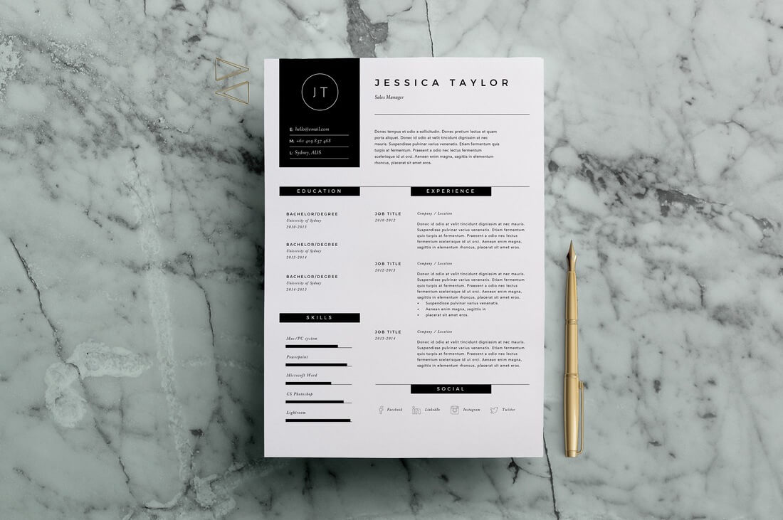 Resume-Template-3-Page 50+ Best CV & Resume Templates 2020 design tips