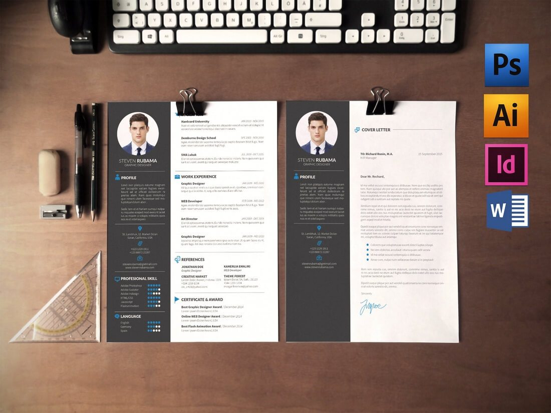 ResumeCV-Cover-Letter 50+ Best CV & Resume Templates 2020 design tips