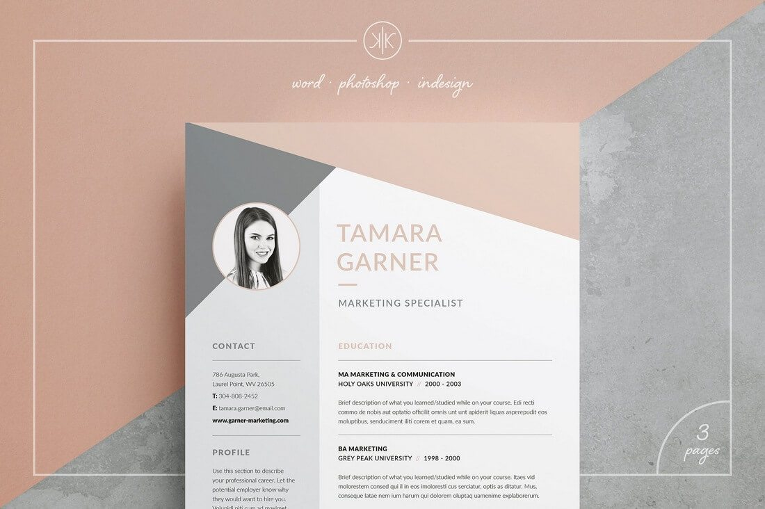 ResumeCV-Tamara 50+ Best CV & Resume Templates 2020 design tips