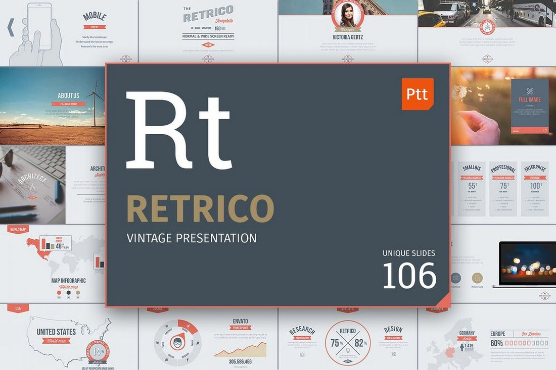 Retrico-Vintage-Slides-PowerPoint-Template 30+ Animated PowerPoint Templates (Free + Premium) design tips