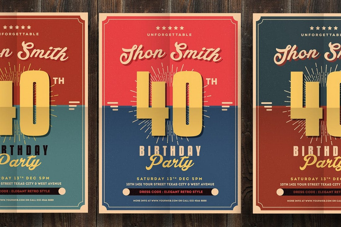 Retro Birthday Party Flyer for Grownups