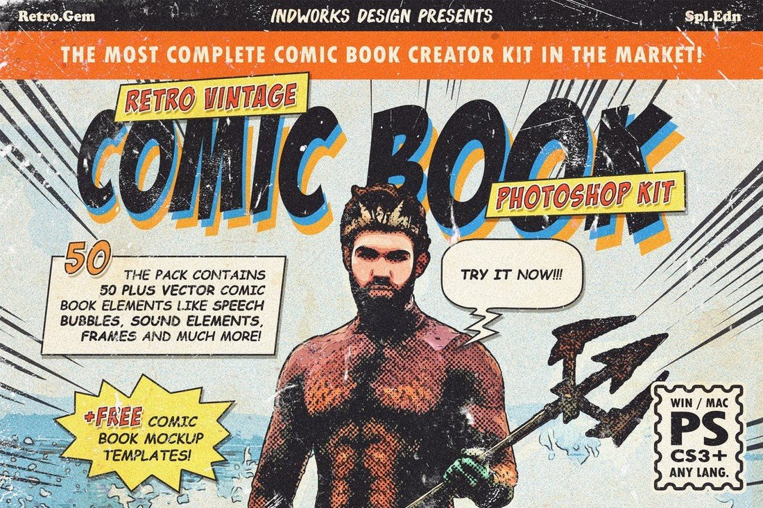 Retro Comic Book Photoshop Action Kit