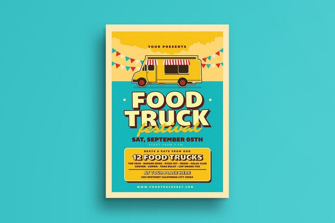 Retro-Food-Truck-Event-Flyer 20+ Best Event Flyer Templates design tips