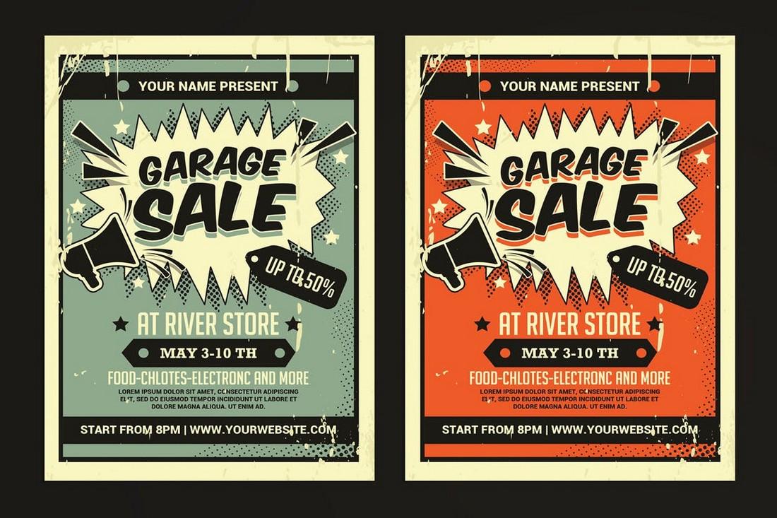 Retro Garage Sale Flyer Template