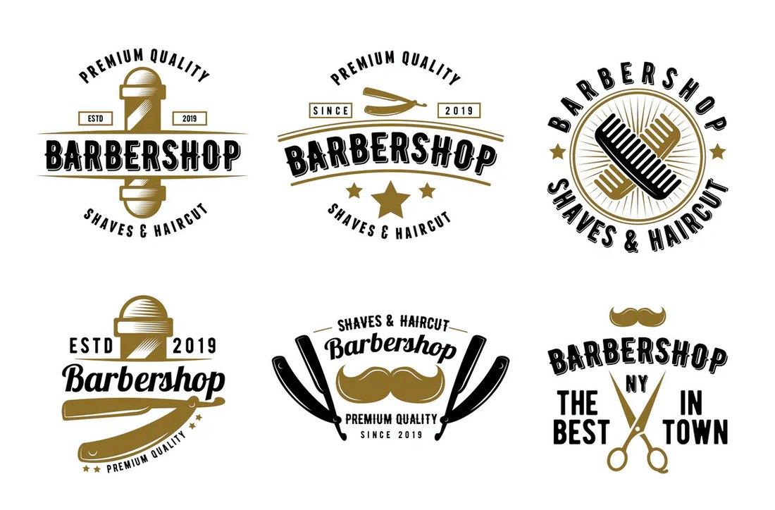 Retro Logo & Badge Templates for Barbershops