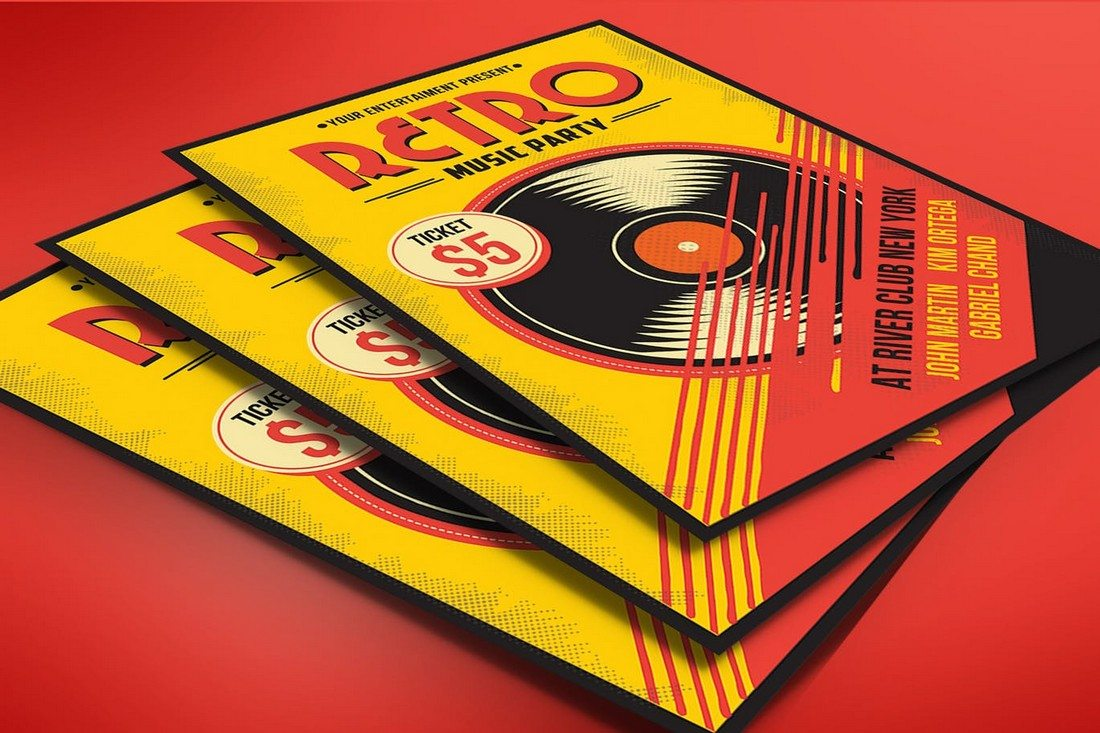 Retro-Music-Flyer 30+ Best Music & Band Flyer Templates design tips