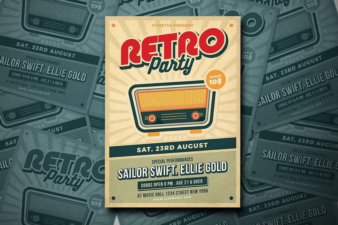 Retro-Music-Poster-Flyer 27 Inspiring Letterpress Style Posters design tips
