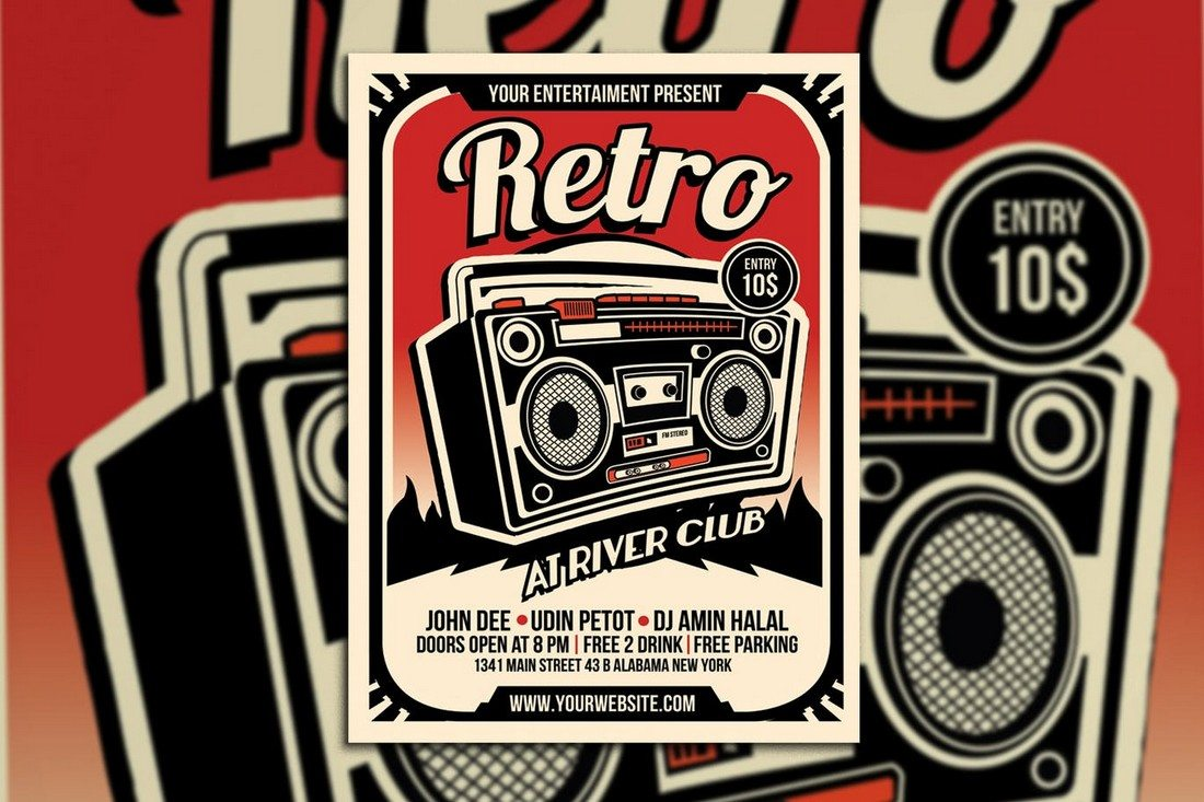 Retro-Music-Radio-Flyer-Poster 30+ Best Music & Band Flyer Templates design tips