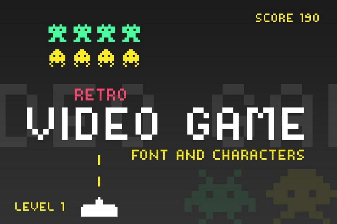 Retro Pixel Video Game Font
