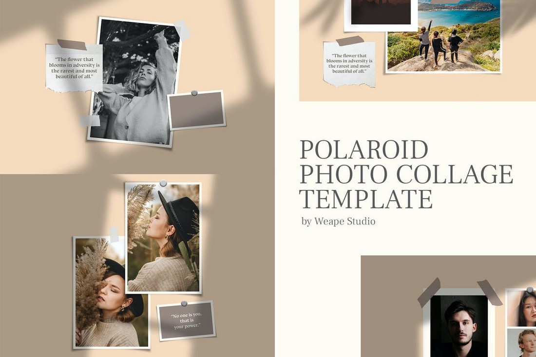 Retro Polaroid Photo Collage Template