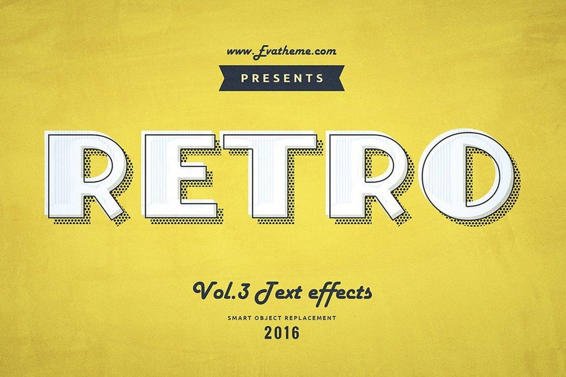 Retro Style Text Effects PSD Layer Styles