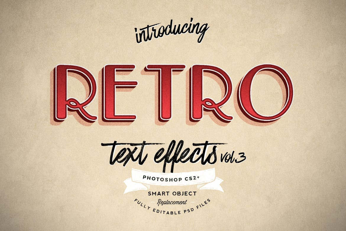 Retro-Text-Effects-vol.3 30+ Best Retro Text Effects & Styles design tips