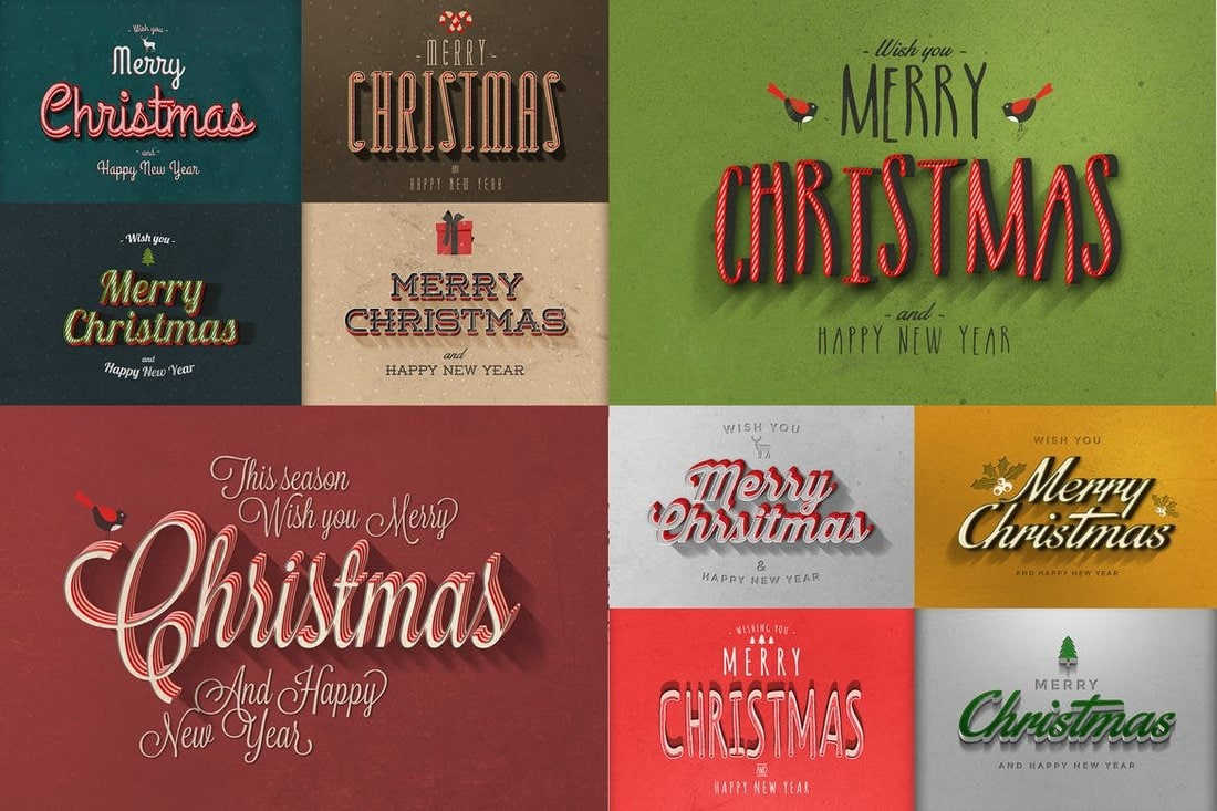 Retro & Vintage Christmas Text Effects
