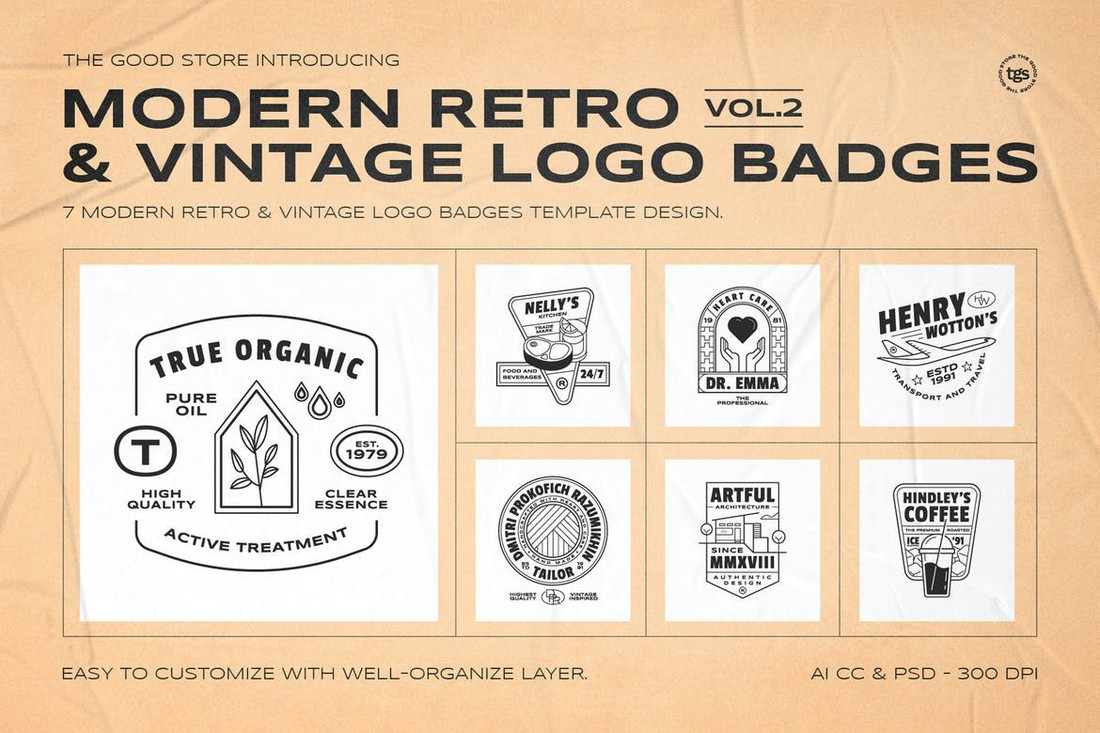 Retro & Vintage Logo Badges Templates