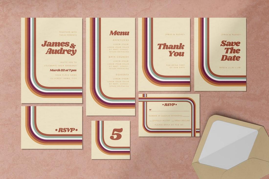 Retro Wedding Invitation Template Set