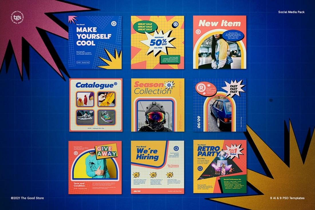 Retrowave 90s Instagram banner Templates
