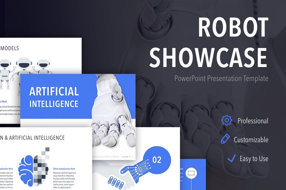 Robot-Showcase-PowerPoint-Template-1 30+ Best Science & Technology PowerPoint Templates design tips  Inspiration|powerpoint|science|technology