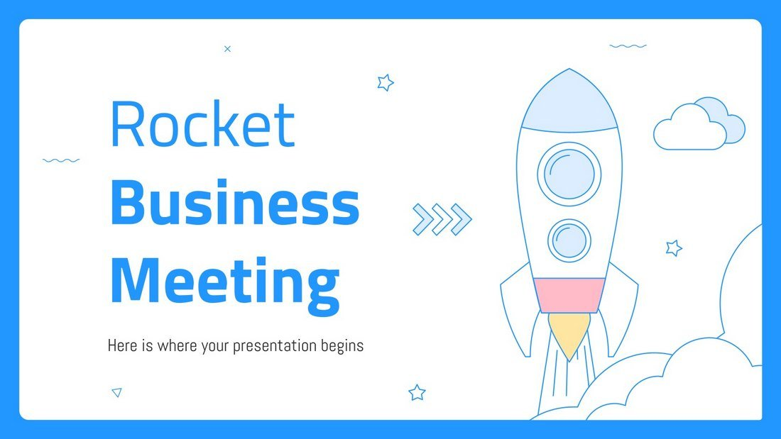 Rocket Business Meeting - Free PowerPoint Template