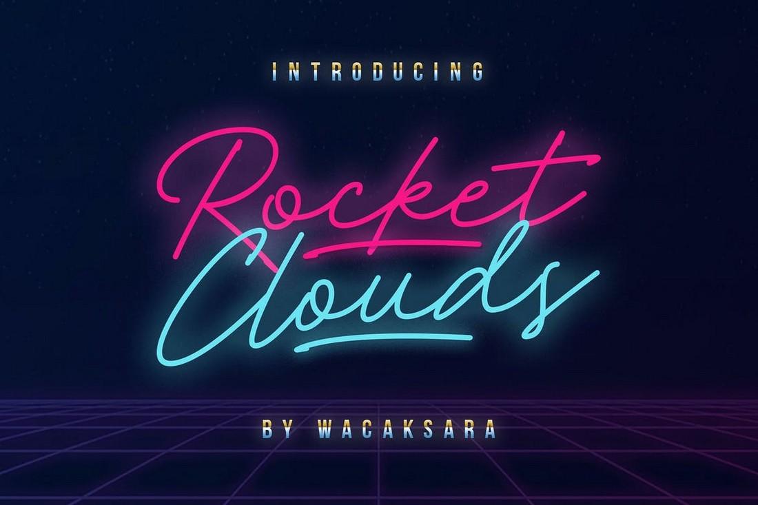 Rocket Clouds - Monoline Script Retro Font