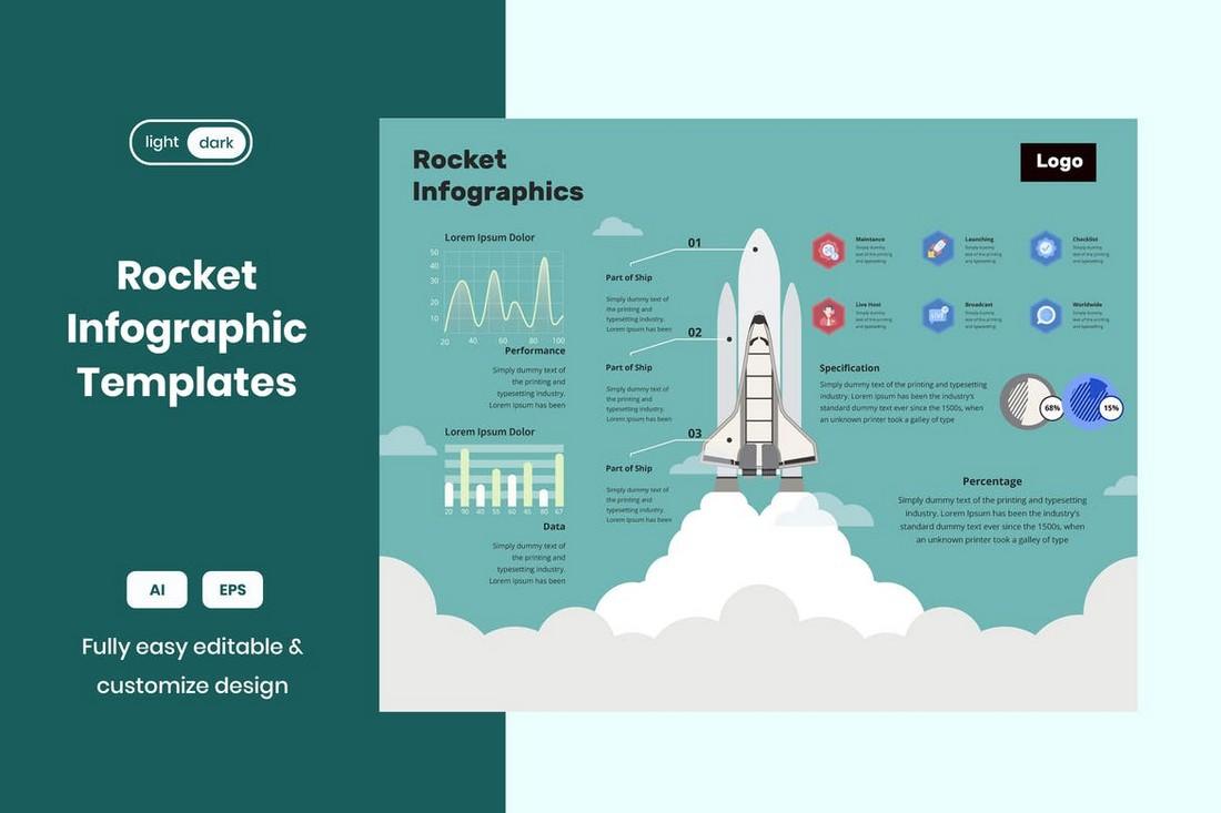 Rocket Ship Infographic Template for Illustrator