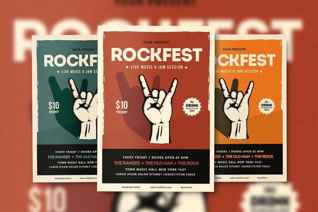 Rockfest-Flyer-Poster 27 Inspiring Letterpress Style Posters design tips