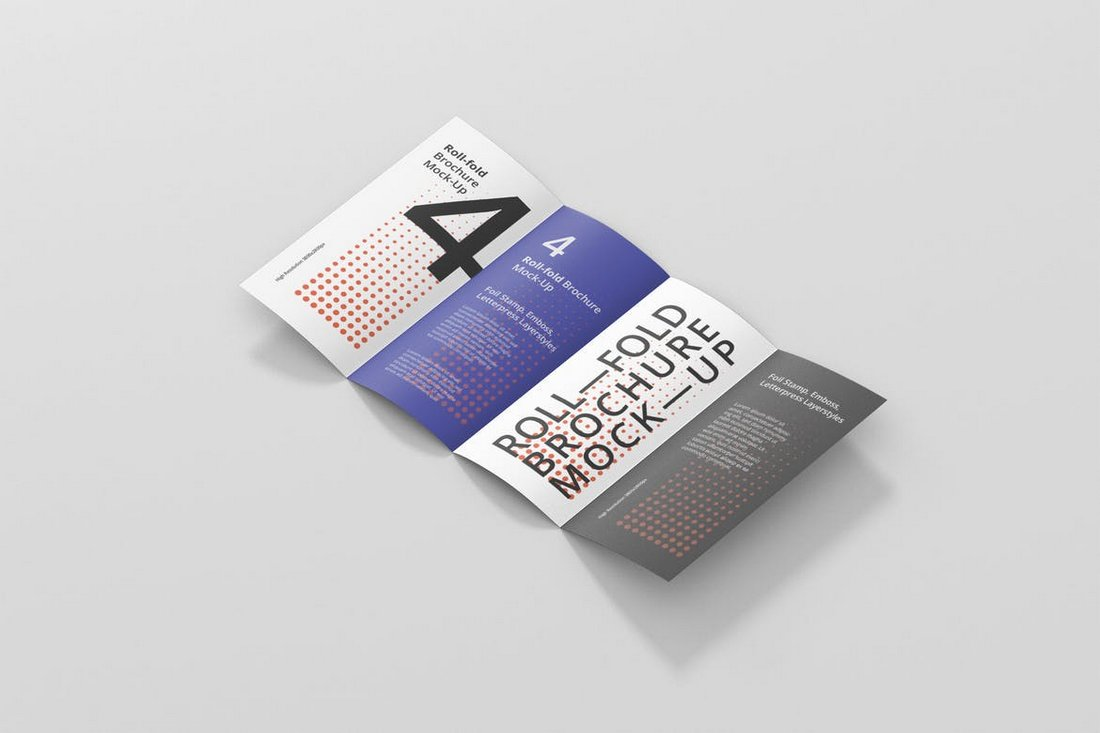 Roll-Fold Brochure Mockup