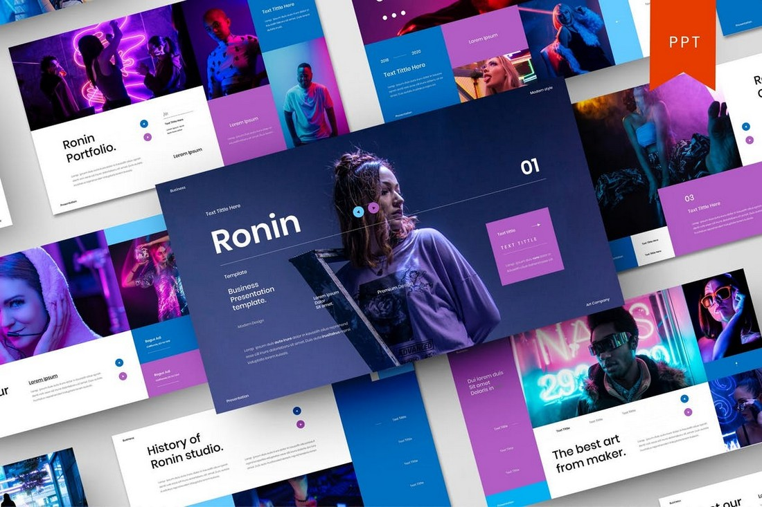 Ronin-Business-PowerPoint-Template 40+ Best Company Profile Templates (Word + PowerPoint) design tips