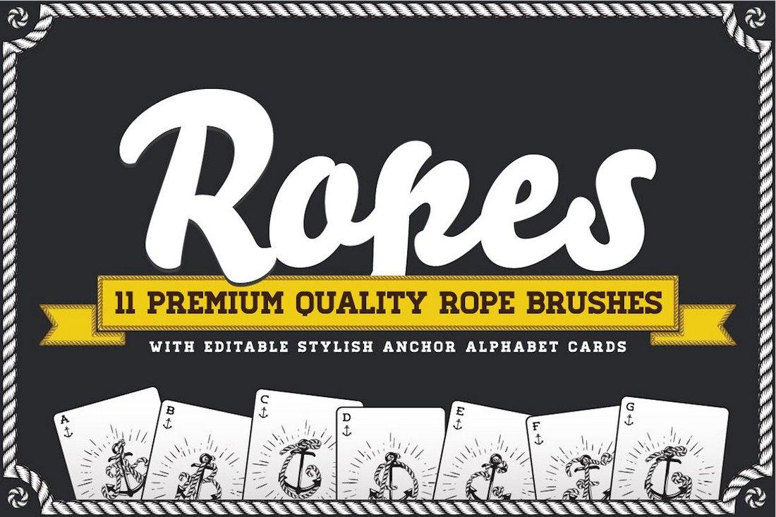 Rope-Brush-Set-with-Stylish-Anchor-ABC 30+ Best High-Quality Photoshop & Illustrator Brushes design tips