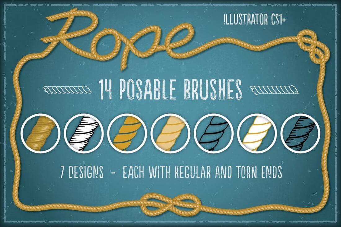 Rope-Brushes 30+ Best High-Quality Photoshop & Illustrator Brushes design tips